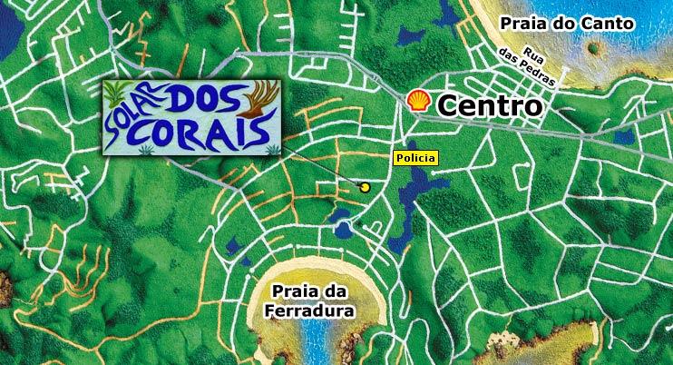 Mapa de Búzios sector de Geribá, Ferradurinha e Ferradura